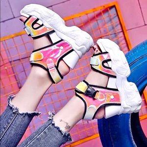 Light summer neon color  wedge open toe sneakers 8